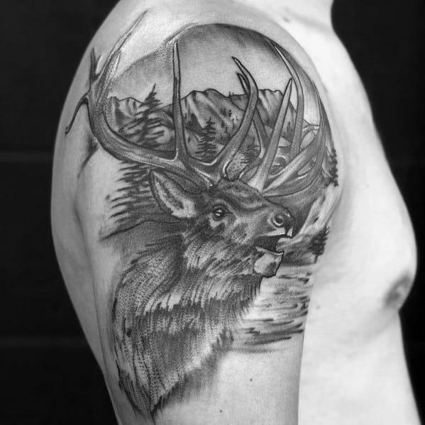 Tattoo Mens Elk Design