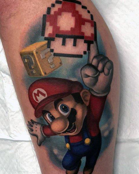 Tattoo Mens Mario Design