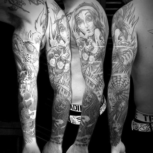 Tattoo Mens Sleeves Skulls