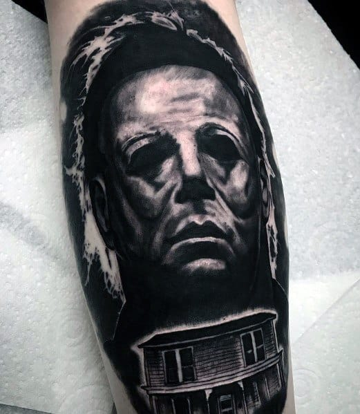 Tattoo Michael Myers Black And Grey Ink Ideas For Guys