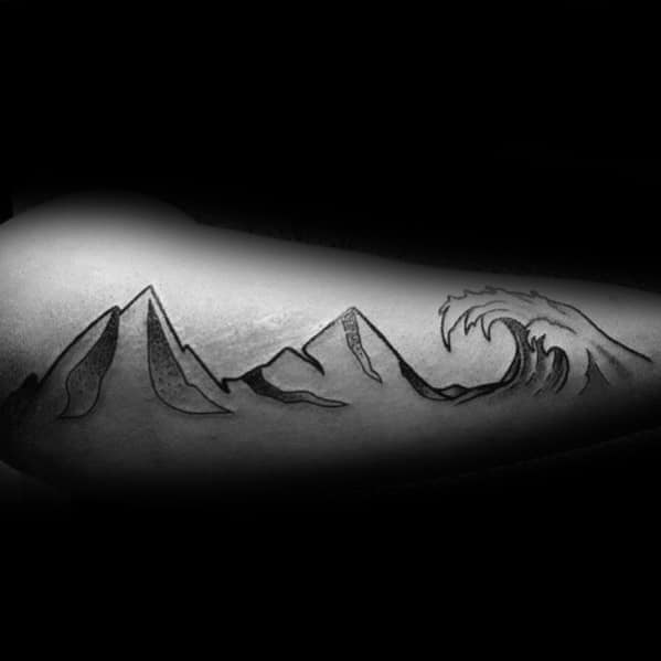 Tattoo Mountain Wave Designs For Men