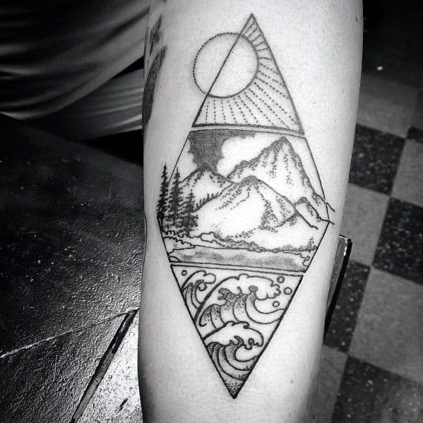 Tattoo Mountain Wave Ideas For Guys