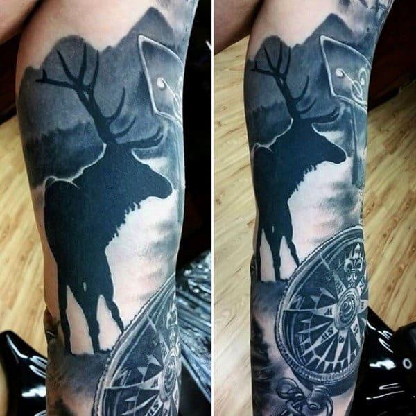 90 deer tattoos for men manly outdoor designs. Black Bedroom Furniture Sets. Home Design Ideas