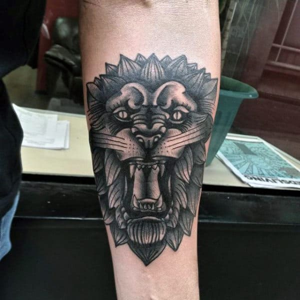 Tattoo Of A Lion On A Man