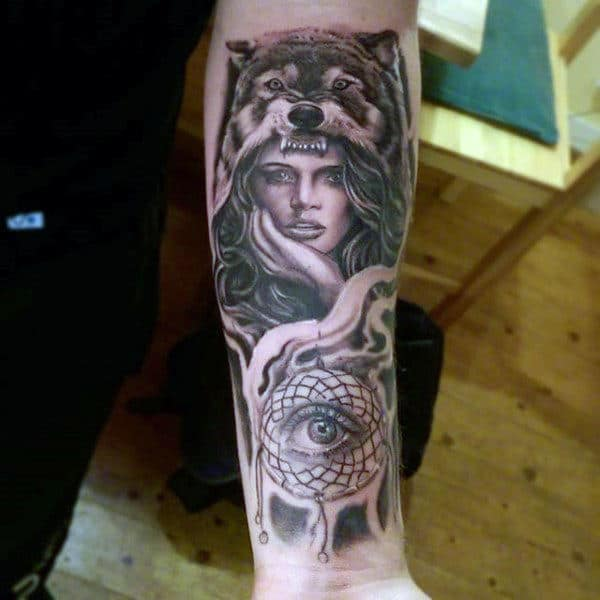 Tattoo Of Dreamcatcher For Guys On Wrist With All Seeing Eye