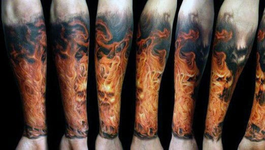 Tattoo Of Flames For Gentlemen Sleeve