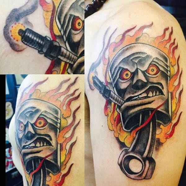 Tattoo Of Hot Rod Piston On Man Flaming