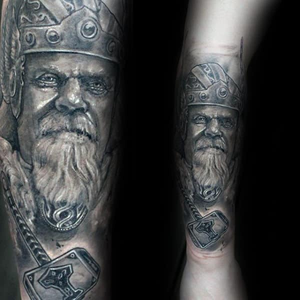 Tattoo Of Mjolnir And Thor Mens Forearm Shaded Design