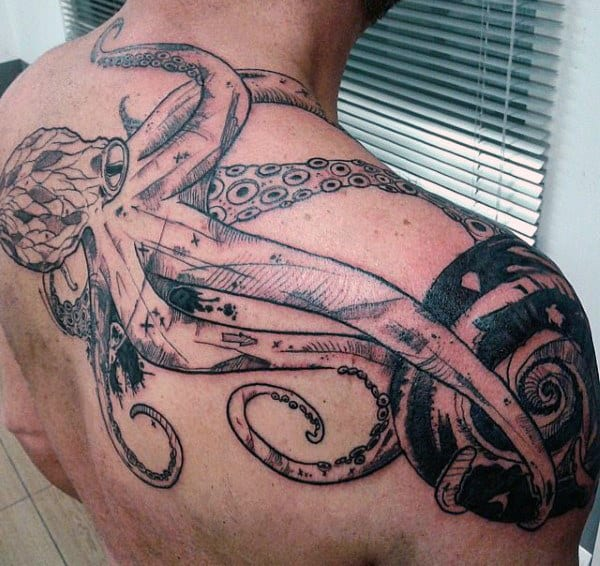 Tattoo Of Octopus On Mans Upper Back