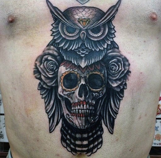 Tattoo Of Owls For Men With Skulls On Stomach