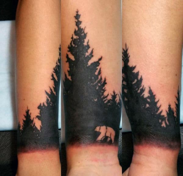 Tattoo Of Pine Tree For Men On Wrist With Bear