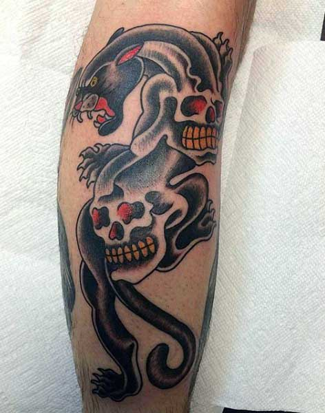 Tattoo Panther For Men With Skulls