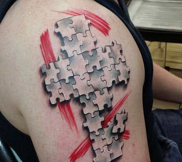 Tattoo Puzzle Pieces For Guys Of Cross On Arm