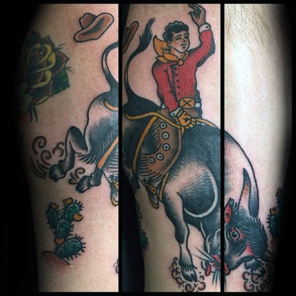40 Rodeo Tattoo Designs For Men – Bucking Bronco Ink Ideas