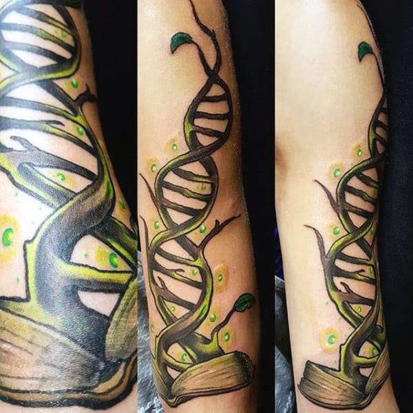 Tattoo Science For Men Of Green Dna Tree
