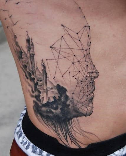 Abstract Tattoo Side Fantasy City For Men