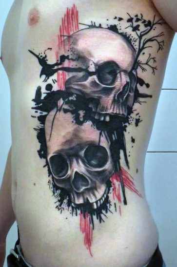 Tattoo Skulls On Rib Cage For Men