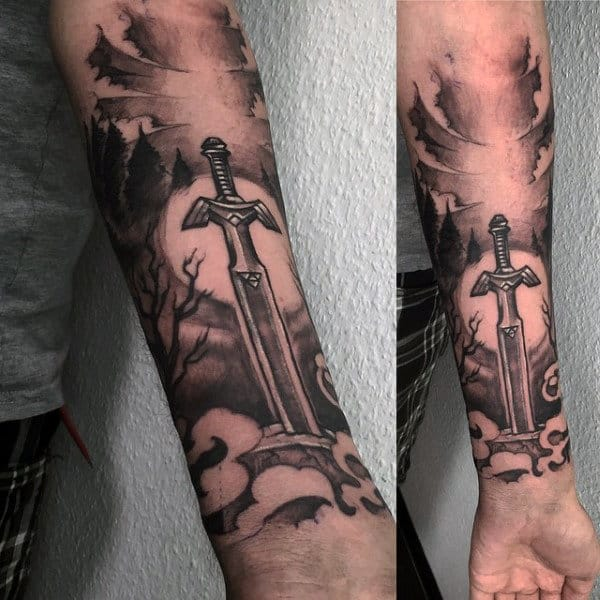 Tattoo Sword For Males On Wrist