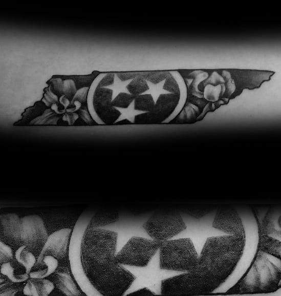 20 Tennessee Flag Tattoo Ideas For Men Three Star Designs