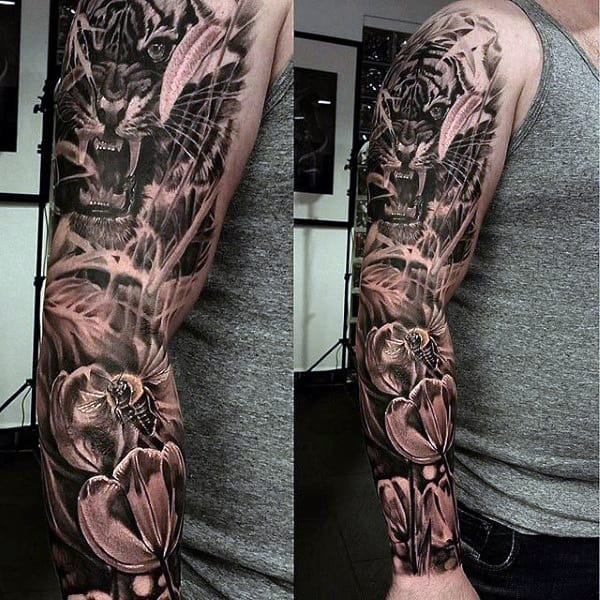 Tattoo Tiger Sleeve Men's DEsigns