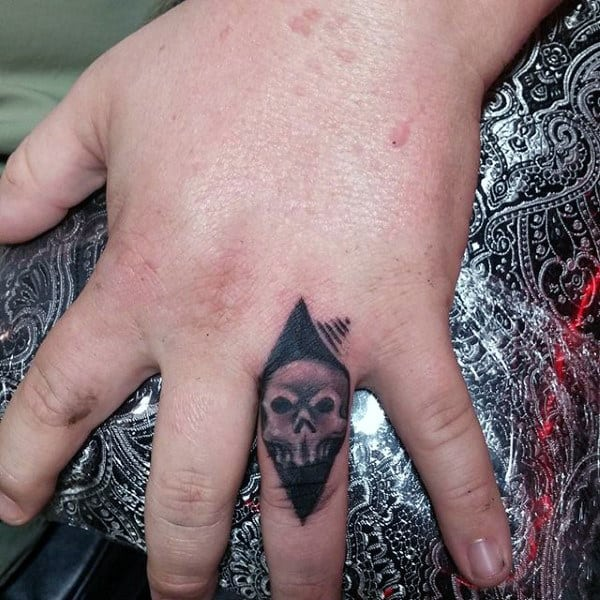 Tattooed Knuckles For Guys Of Skull With Black Triangle Background