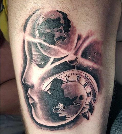 Leg Tattoos Clocks For Men