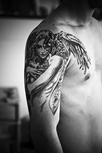 Angel Tattoos For Men On Arm And Shoulder