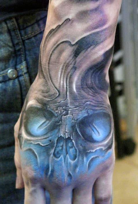 BlueSkull Tattoos For Men On Hand