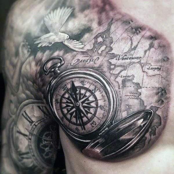 Tattoos Of A Compass On Man