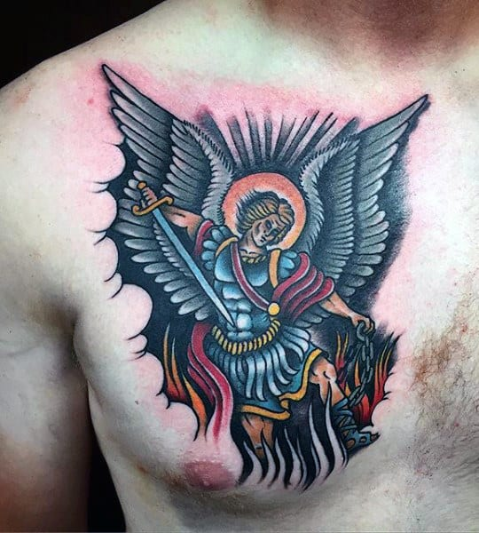 Tattoos Of Saint Micheal For Men On Chest