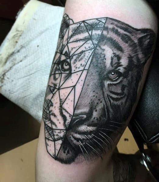 Geometric Tattoos Of Tigers For Men