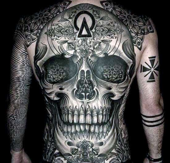 Skull Tattoos On Back For Men