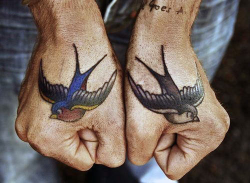Top 50 best hand tattoos for men fist designs and ideas for Swallow hand tattoo