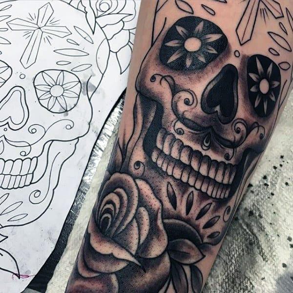 Tattoos Sugar Skulls On Gentlemen