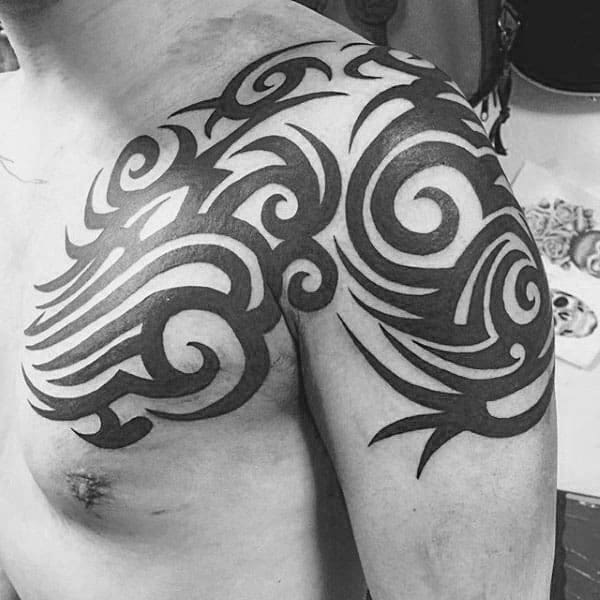 Tattoos Tribal Arm And Chest For Guys With Traditional Black Ink Design
