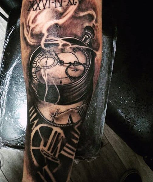 Arm Tattoos With Clocks For Men