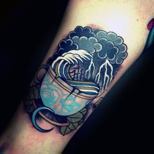 Tea Cup With Ocean Waves Insane Creative Guys Arm Tattoos
