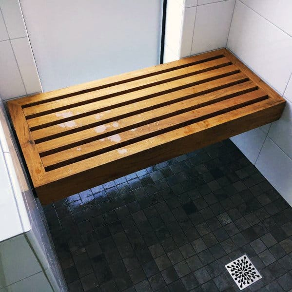 Teak Shower Bench Ideas With Slots
