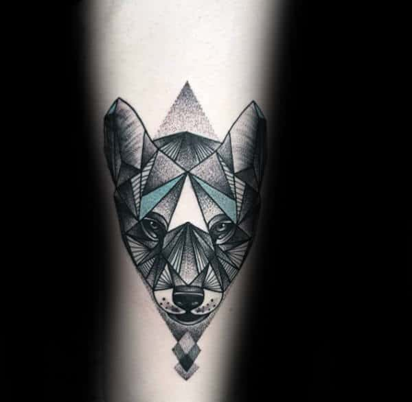 Teal And Black Geometric Wolf Ink Male Tattoos