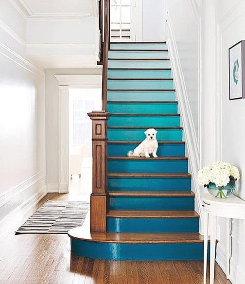 Teal Blue Designs For Painted Stairs