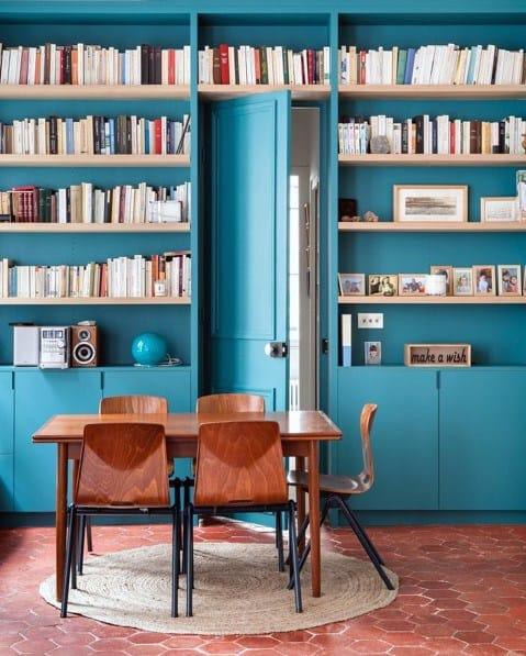 Teal Floor To Ceiling Bookshelves Design Ideas