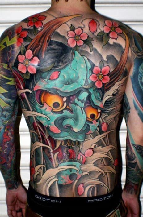 Teal Hannya Demon Mask Guys Japanese Back Tattoos
