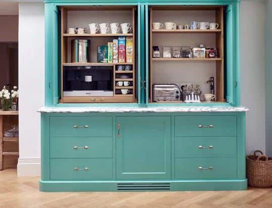 Teal Painted Home Coffee Bar Ideas