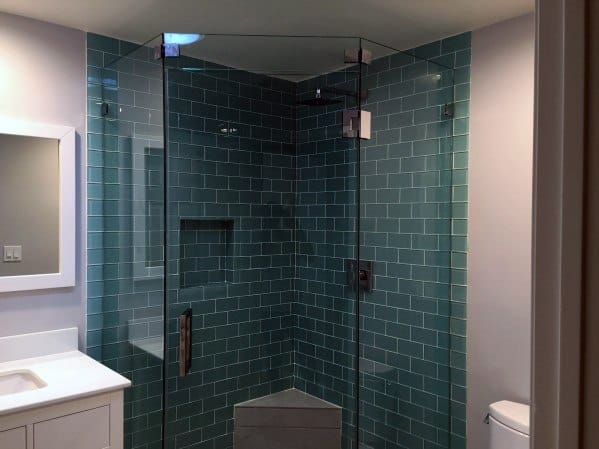 Teal Subway Tiles Bathroom Ideas Corner Shower