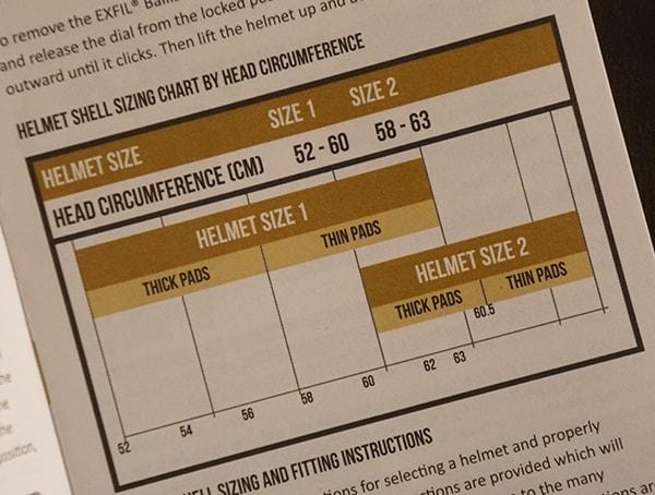 Team Wendy Exfil Ballistic Sl Helmet Sizing Guide Chart