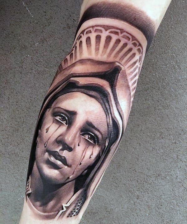 Tearful Virgin Mary Mens Back Of Leg Tattoo