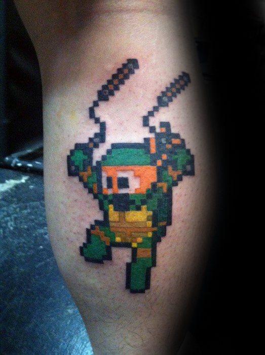 Teenage Mutant Ninja Turtles 8 Bit Leg Calf Tattoo Ideas For Guys