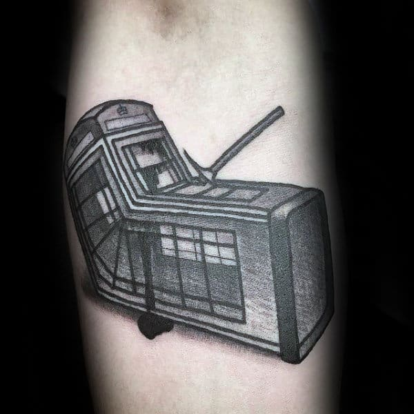 Telephone Booth Mens Banksy Inner Forearm Tattoos