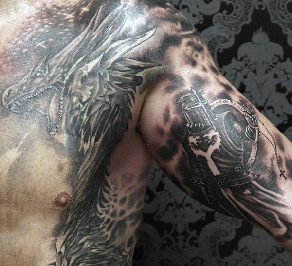 Templar Knights Tattoos For Men With Dragon On Chest And Arm