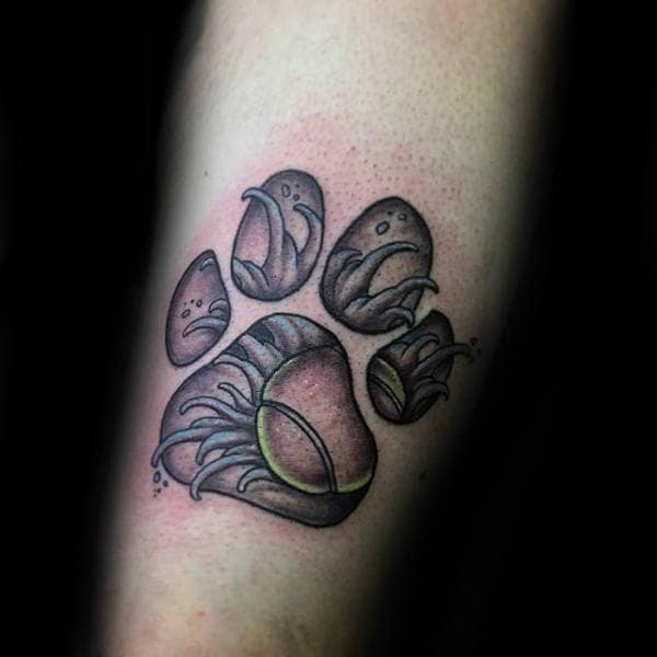 Tennis Ball And Fur 3d Dog Paw Male Arm Tattoo